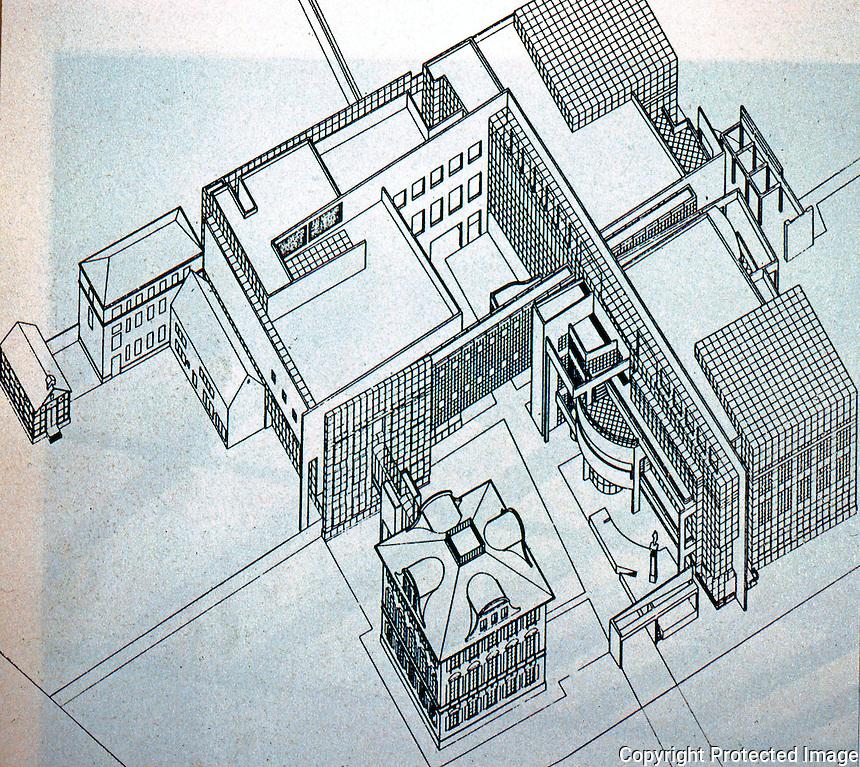 Richard Meier: Arts & Crafts Museum, Frankfurt 1982-84. Axonometric from Bauen in  Deutschland.