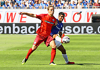 Philip Tietz (SC Paderborn 07) gegen Slobodan Medojevic (SV Darmstadt 98) - 05.08.2018: SV Darmstadt 98 vs. SC Paderborn 07, Stadion am Boellenfalltor, 1. Spieltag 2. Bundesliga<br /> <br /> DISCLAIMER: <br /> DFL regulations prohibit any use of photographs as image sequences and/or quasi-video.