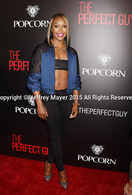 BEVERLY HILLS, CA - SEPTEMBER 02: Olympic athlete Carmelita Jeter arrives at the premiere of Screen Gems' 'The Perfect Guy' at The WGA Theater on September 2, 2015 in Beverly Hills, California.