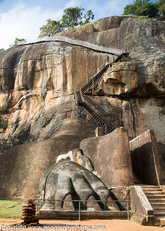 Metal staircase climbing to rock palace fortress, Sigiriya, Central Province, Sri Lanka, Asia