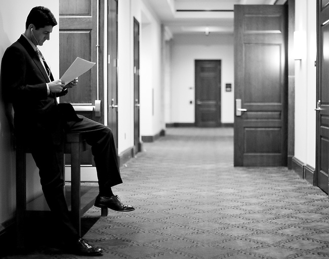 JANUARY 27, 2010: Rep. Paul Ryan, R-Wisc., looks over papers as he waits for other House Republicans to arrive for a news conference in the Capitol Visitors Center.