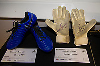 Pictured: Leroy Fer of Swansea City boots and Erwin Mulder of Swansea City gloves for auction During the Swansea City Christmas Party at the Liberty Stadium, Swansea, Wales, UK. Thursday 13th December 2018