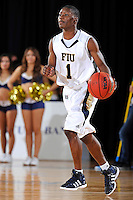 12 January 2012:  FIU guard Deric Hill (1) handles the ball in the second half as the Middle Tennessee State University Blue Raiders defeated the FIU Golden Panthers, 70-59, at the U.S. Century Bank Arena in Miami, Florida.