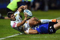 Santiago Cordero of Exeter Chiefs looks to offload the ball after being tackled to ground. Gallagher Premiership match, between Bath Rugby and Exeter Chiefs on October 5, 2018 at the Recreation Ground in Bath, England. Photo by: Patrick Khachfe / Onside Images