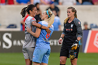 Bridgeview, IL - Sunday September 03, 2017: Abby Erceg, Julie Ertz during a regular season National Women's Soccer League (NWSL) match between the Chicago Red Stars and the North Carolina Courage at Toyota Park. The Red Stars won 2-1.