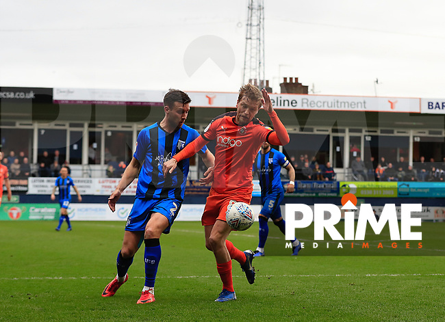 Luke Berry of Luton Town shields the ball during the Sky Bet League 1 match between Luton Town and Gillingham at Kenilworth Road, Luton, England on 16 March 2019. Photo by Liam Smith.