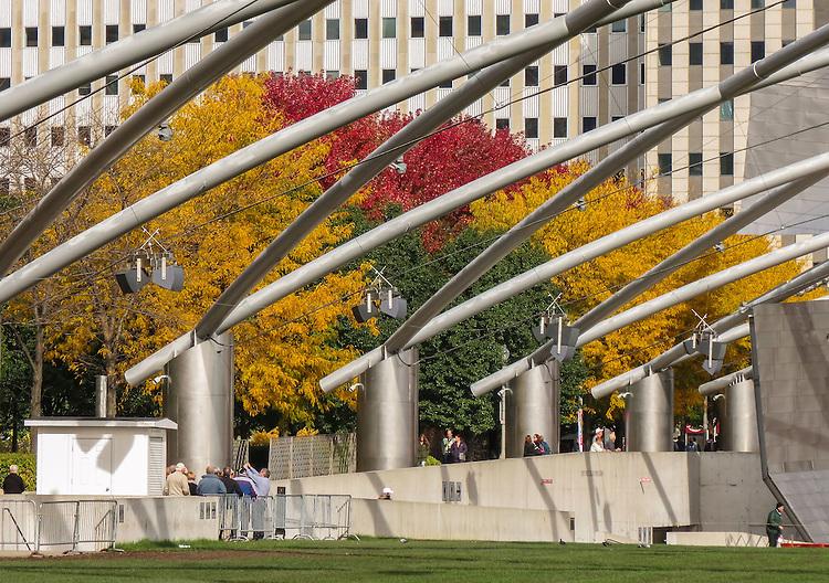 Fall foliage surrounds the Jay Pritzker Pavilion in downtown Chicago at Millennium Park. (DePaul University/Jamie Moncrief)