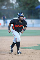 Angel Villalona (41) of the San Jose Giants runs the bases during a game against the Rancho Cucamonga Quakes at LoanMart Field on August 30, 2015 in Rancho Cucamonga, California. Rancho Cucamonga defeated San Jose, 8-3. (Larry Goren/Four Seam Images)