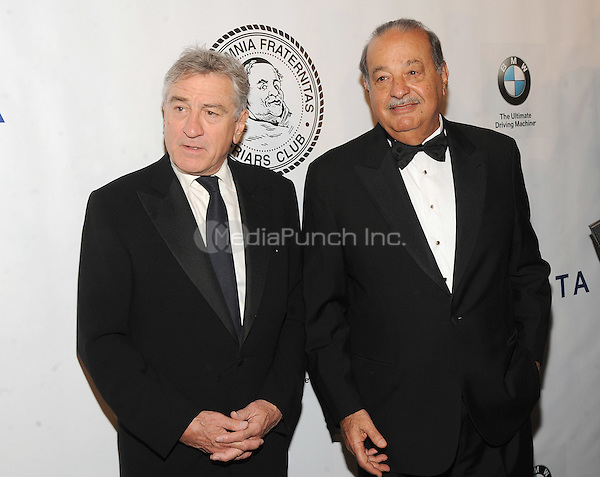 New York, NY- October 7: Robert De Niro and Carlos Slim attend the Friars Foundation Gala honoring Robert De Niro and Carlos Slim at the Waldorf-Astoria on October 7, 2014 in New York City. Credit: John Palmer/MediaPunch