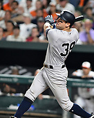 New York Yankees center fielder Mike Tauchman (39) hits a solo home run in the sixth inning against the Baltimore Orioles at Oriole Park at Camden Yards in Baltimore, MD on Monday, August 5, 2019. The Yankees won the game 9 - 6.<br /> Credit: Ron Sachs / CNP<br /> <br /> <br /> (RESTRICTION: NO New York or New Jersey Newspapers or newspapers within a 75 mile radius of New York City)