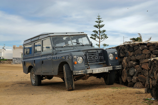 Spain, Canary Islands, Archipielago Chinijo, Isla Graciosa, Caleta del Sebo. Land Rover Santana 109 4-cyl Station Wagon. --- No releases available. Automotive trademarks are the property of the trademark holder, authorization may be needed for some uses.