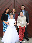 Kacey Cluskey who received her first holy communion in St Mary's church pictured with family Steven, Donna, Tegan and Josh. Photo:Colin Bell/pressphotos.ie