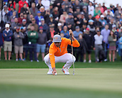 February 3rd 2019, Scottsdale, Arizona, USA;  Rickie Fowler places the ball in order to putt on the ninth hole during the final round of the Waste Management Phoenix Open on February 3, 2019, at TPC Scottsdale in Scottsdale, Arizona.
