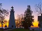 Marblehead Lighthouse State Park, OH<br /> Dawn at Marblehead Lighthouse (1819) on Lake Erie, oldest lighthouse in continuous operatoin on the great lakes