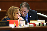 Nevada Assembly Minority Leader Marilyn Kirkpatrick, D-North Las Vegas, talks with Assemblyman John Moore, R-Las Vegas, on the Assembly floor at the Legislative Building in Carson City, Nev., on Tuesday, April 21, 2015. <br /> Photo by Cathleen Allison