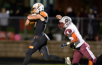 Verona's Haakon Anderson runs for a first quarter touchdown in front of La Follette's Alijah Scott, as Madison La Follette takes on Verona in Wisconsin Big Eight Conference high school football on Friday, 10/4/19 at Verona High School's Curtis Jones Field | Wisconsin State Journal article front page C1 Sports 10/5/19 and online at https://madison.com/wsj/sports/high-school/football/verona-wallops-madison-la-follette-snapping-lancers--game-winning/article_6d4ca0e9-bb22-59c2-a702-e03967dffa8f.html