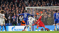 Diego Costa of Chelsea scores his goal to make it 1 1 during the UEFA Champions League Round of 16 2nd leg match between Chelsea and PSG at Stamford Bridge, London, England on 9 March 2016. Photo by Andy Rowland.