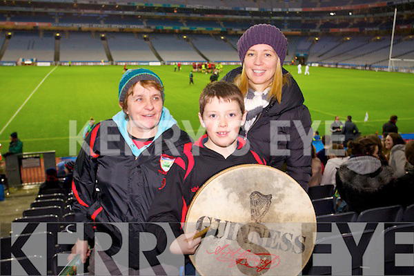 Kenmare fans pictured in Croke Park on Saturday were l-r: Sheila O'Sullivan, Kyle Cronin and Stella Randles..