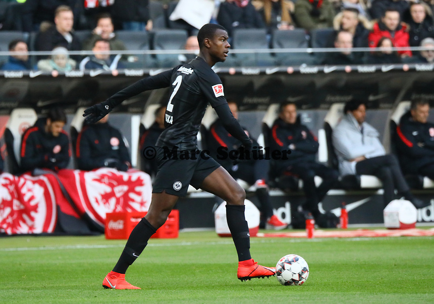 Evan N'Dicka (Eintracht Frankfurt) - 19.01.2019: Eintracht Frankfurt vs. SC Freiburg, Commerzbank Arena, 18. Spieltag Bundesliga, DISCLAIMER: DFL regulations prohibit any use of photographs as image sequences and/or quasi-video.