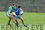 Kerins O'Rahillys Cormac Coffey advancing with the ball despite the attention from Diarmuid O'Connor of Na Gaeil in opening round game in division 1 of the County Football league in Strand Road on Sunday.