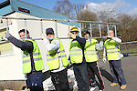 SWALEC Volunteers working at Maesybryn Primary School..L-R: Jason Maunder, Robert Thomas, Jason Lee, Shawne Huxton & Ian Blair..05.03.12.©STEVE POPE