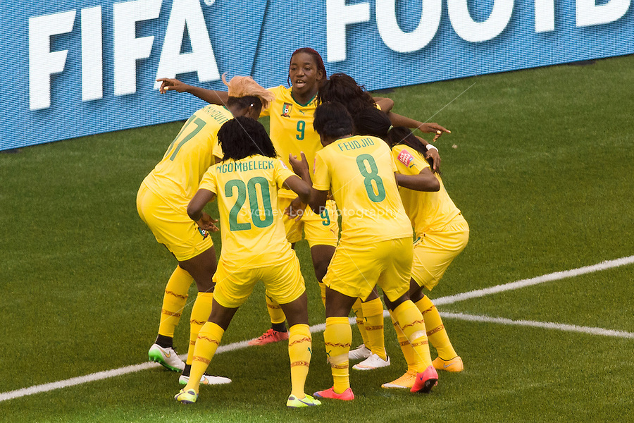 June 8, 2015: Madeleine NGONO MANI of Cameroon celebrates her goal during a Group C match at the FIFA Women's World Cup Canada 2015 between Cameroon and Ecuador at BC Place Stadium on 8 June 2015 in Vancouver, Canada. Sydney Low/AsteriskImages