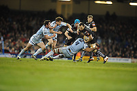 Millennium stadium, Ospreys v CardiffBlues RaboDirect PRO12 rugby Judgement Day, Saturday 30th March 2013. Joe Bearman of the Ospreys takes on the CardiffBlues defence during the Ospreys v CardiffBlues match. Mandatory credit for pictures used to-Jeff Thomas Photography-www.jaypics.photoshelter.com-07837 386244