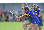 Carol O Leary of Newmarket in action against Amy Keating of Inagh-Kilnamona during their senior county final in Clarecastle. Photograph by John Kelly.