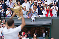 Roger Federer (SUI) celebrates with the Mens Trophy in front of his Family, Wimbledon Championships 2017, Day 13, Mens Final, All England Lawn Tennis & Croquet Club, Church Rd, London, United Kingdom - 16th July 2017