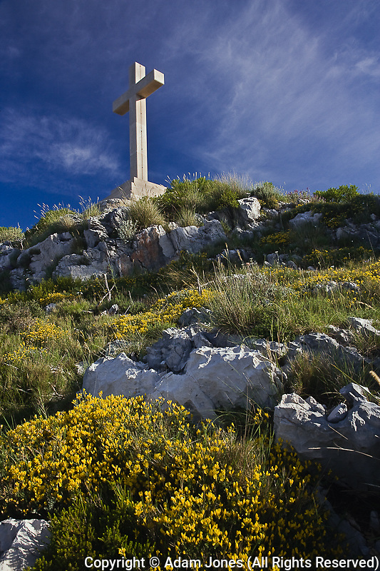 Large cross on Cross Mountain towering above Dubrovnik, Croatia a UNESCO World Heritage Site