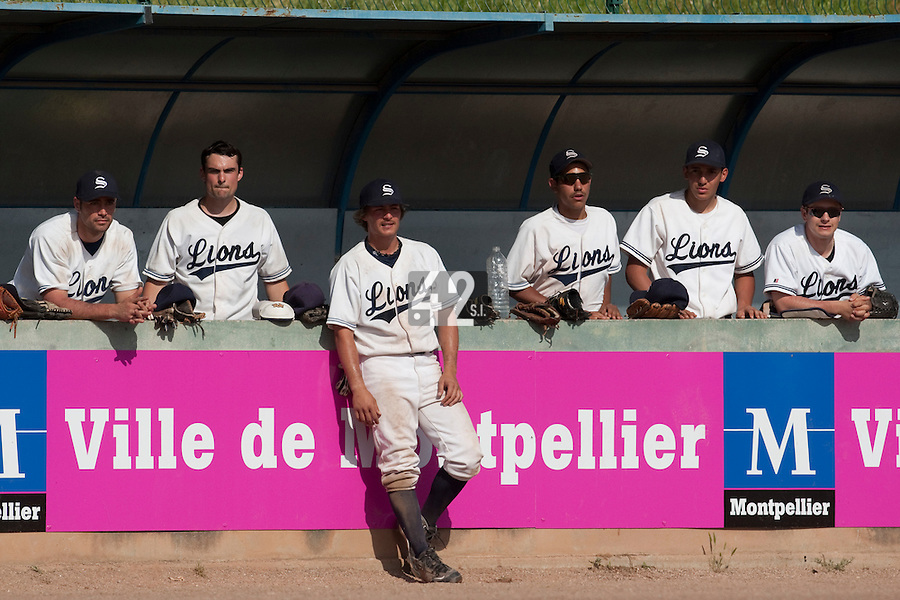 24 May 2009: Team Savigny is seen in the dugout during the 2009 challenge de France, a tournament with the best French baseball teams - all eight elite league clubs - to determine a spot in the European Cup next year, at Montpellier, France. Rouen wins 7-5 over Savigny.