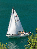 Switzerland, Canton Lucerne, Lake Lucerne: sailing boat trip