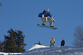 Snowboarder at Marquette Mountain in the Upper Peninsula city of Marquette, Michigan.