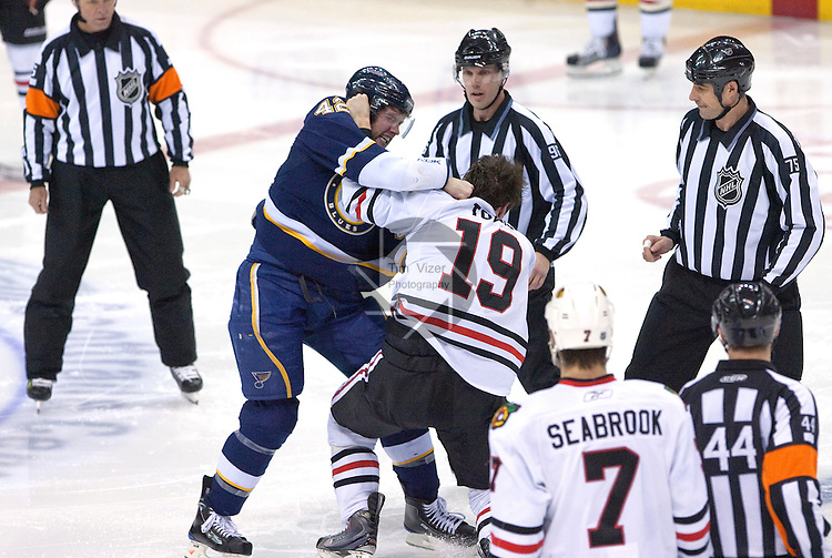January 2,  2010                      St. Louis Blues right wing David Backes (4, left) and Blackhawks Jonathan Toews (19) traded blows early in the second period.   The St. Louis Blues hosted the Chicago Blackhawks on Saturday January 2, 2010 at the Scottrade Center in downtown St. Louis.