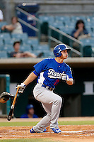 Corey Seager #22 of the Rancho Cucamonga Quakes bats against the Lancaster JetHawks at The Hanger on August 26, 2013 in Lancaster, California. Rancho Cucamonga defeated Lancaster, 4-1. (Larry Goren/Four Seam Images)