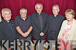 Fr. Jack Fitzgerald, pictured centre , enjoying his farewell party in The Abbeydorney Community Centre on Friday night following his move to Millstreet after 8 years in Abbeydorney. L/r Michea?l o? Dochartaigh, Donal Healy, Fr Jack Fitzgerald, Fr Kevin Sullivan and Maureen McElligot.
