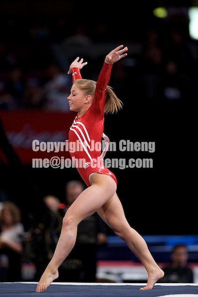 3/1/08 - Photo by John Cheng - Shawn Johnson of United States performs on floor exercise at the Tyson American Cup in Madison Square GardenPhoto by John Cheng - Tyson American Cup 2008 in Madison Square Garden, New York.Shawn Johnson