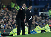 5th November 2017, Goodison Park, Liverpool, England; EPL Premier League Football, Everton versus Watford; Everton caretaker David Unsworth urges his team on as Watford head coach Marco Silva is dejected after his side give away a two goal lead