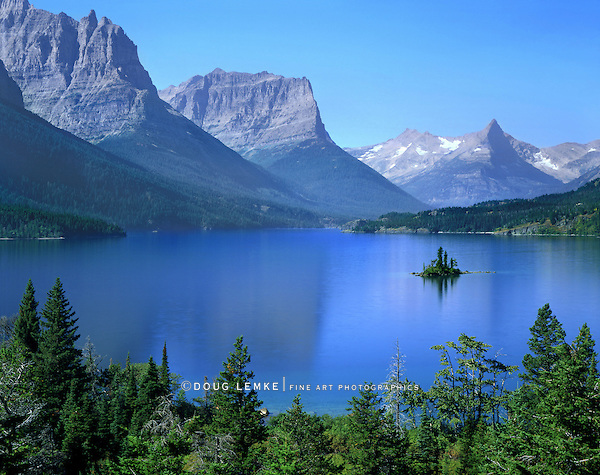 A Tiny Island In Saint Mary Lake, Glacier National Park, Montana