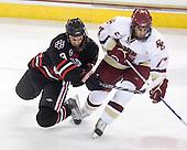 Garrett Vermeersch (NU - 9), Brian Gibbons (BC - 17) - The Boston College Eagles defeated the Northeastern University Huskies 5-1 on Saturday, November 7, 2009, at Conte Forum in Chestnut Hill, Massachusetts.