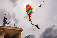 Guatemala,Sumpango, barriletes, ( kites) fly in the all saints day, in the cemitery