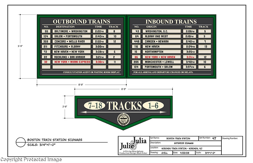 This was track signage used at the Hoboken Railroad Station to recreate the Boston Train Station of the 1950's