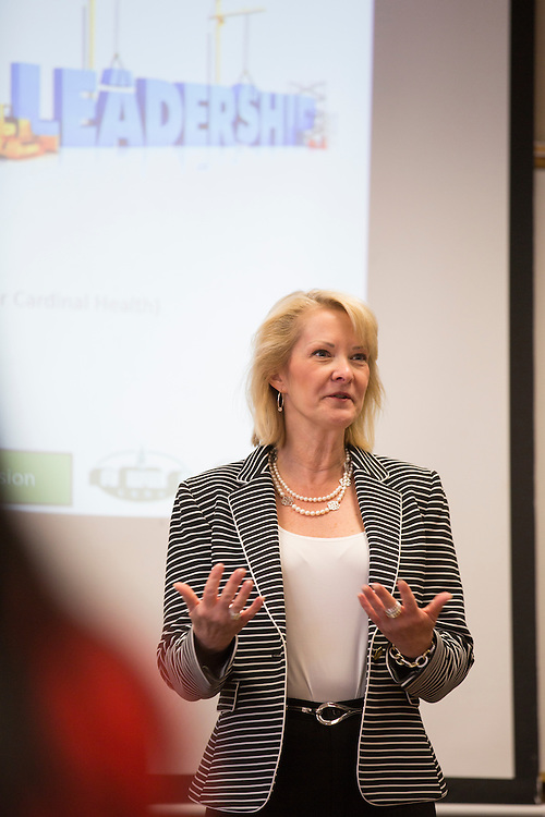 Lisa George, the Vice President of International Talent for Walmart, leads a breakout session during the College of Business Center for Leadership Event in Copeland Hall on April 23, 2016.