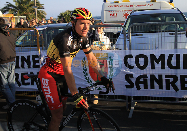 Philippe Gilbert (ITA) BMC Racing Team crosses the finish line, after crashing earlier in the race, in San Remo at the end of the 298Km Milan-San Remo cycle race, 17th March 2012 (Photo by Manus O'Reilly/NEWSFILE)