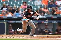 Mac Odom (1) of the Sam Houston State Bearkats squares to bunt against the Kentucky Wildcats during game four of the 2018 Shriners Hospitals for Children College Classic at Minute Maid Park on March 3, 2018 in Houston, Texas. The Wildcats defeated the Bearkats 7-2.  (Brian Westerholt/Four Seam Images)