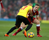 17th March 2018, Anfield, Liverpool, England; EPL Premier League football, Liverpool versus Watford; Roberto Pereyra of Watford find his path blocked by Jordan Henderson of Liverpool