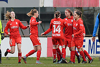 20180127 - AALTER , BELGIUM : standard's players pictured celebrating their goal and the 0-1 lead during the quarter final of Belgian cup 2018 , a womensoccer game between Club Brugge Dames and Standard Femina de Liege , in Aalter , saturday 27 th January 2018 . PHOTO SPORTPIX.BE | DAVID CATRY
