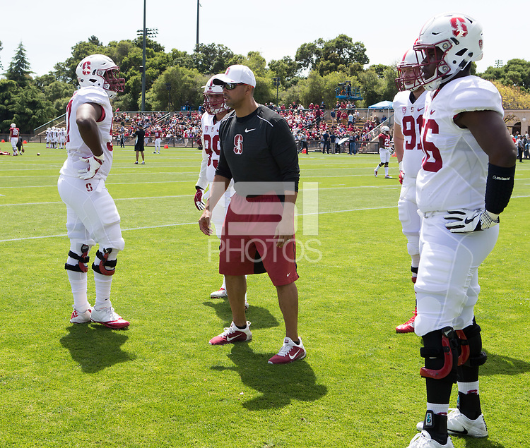 Stanford, CA - April15, 2017:  Coach Diron Reynolds at Cagan Stadium.