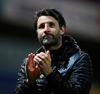 Lincoln City manager Danny Cowley applauds the fans at the final whistle<br /> <br /> Photographer Chris Vaughan/CameraSport<br /> <br /> The EFL Sky Bet League Two - Mansfield Town v Lincoln City - Monday 18th March 2019 - Field Mill - Mansfield<br /> <br /> World Copyright © 2019 CameraSport. All rights reserved. 43 Linden Ave. Countesthorpe. Leicester. England. LE8 5PG - Tel: +44 (0) 116 277 4147 - admin@camerasport.com - www.camerasport.com