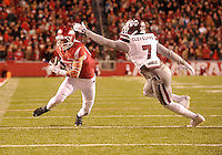 NWA Democrat-Gazette/MICHAEL WOODS • University of Arkansas receiver Drew Morgan shakes Mississippi State defender Tolando Cleveland as he scores a touchdown in the 1st quarter of Saturday night game at Razorback Stadium November 21, 2015.